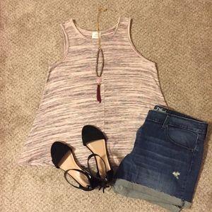Heathered Grey Maroon & Purple Sweater Tank Top